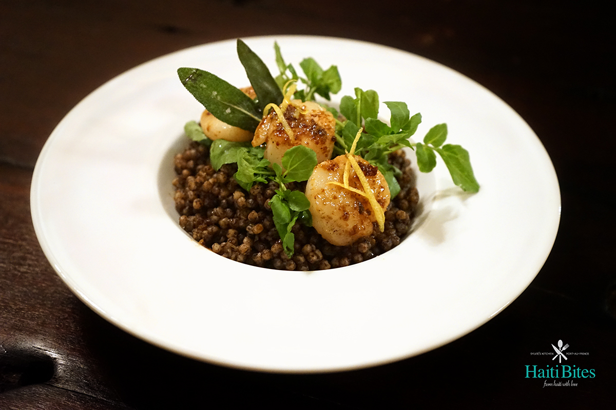 """Djondjon"" Black Mushrooms Israeli Couscous With Lemon Butter Scallops & Crispy Sage"
