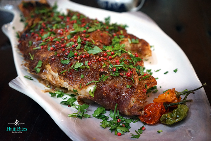 Whole fried snapper with tangy ginger sauce