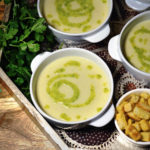 Haiti Bites leak and potato soup with parsley pesto